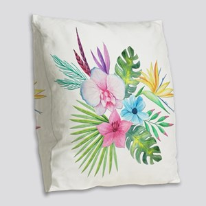 Watercolor Tropical Bouquet 3 Burlap Throw Pillow