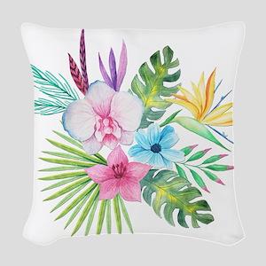 Watercolor Tropical Bouquet 3 Woven Throw Pillow