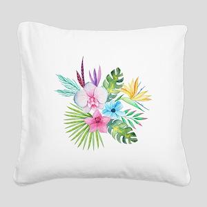 Watercolor Tropical Bouquet 3 Square Canvas Pillow