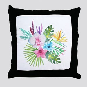 Watercolor Tropical Bouquet 3 Throw Pillow