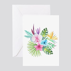 Tropical greeting cards cafepress watercolor tropical bouquet 3 greeting cards m4hsunfo