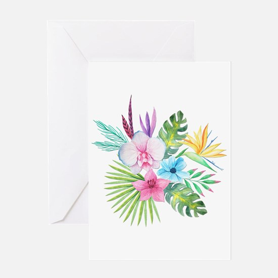 Watercolor Tropical Bouquet 3 Greeting Cards