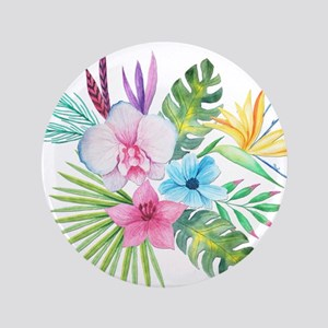Watercolor Tropical Bouquet 3 Button