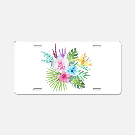 Watercolor Tropical Bouquet Aluminum License Plate