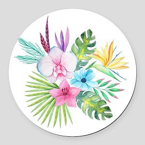Watercolor Tropical Bouquet 3 Round Car Magnet