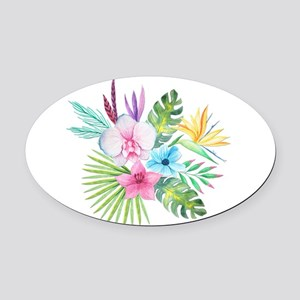 Watercolor Tropical Bouquet 3 Oval Car Magnet