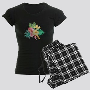 Watercolor Tropical Bouquet Women's Dark Pajamas