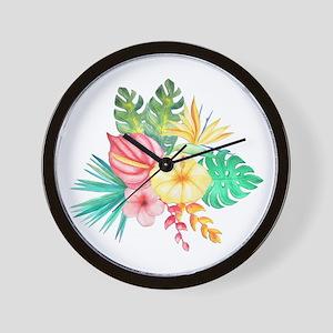 Watercolor Tropical Bouquet 6 Wall Clock