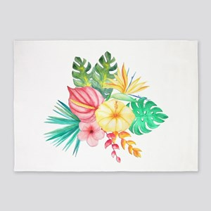 Watercolor Tropical Bouquet 6 5'x7'Area Rug