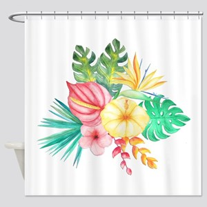 Watercolor Tropical Bouquet 6 Shower Curtain