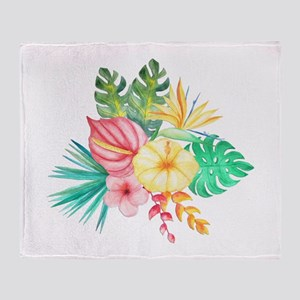 Watercolor Tropical Bouquet 6 Throw Blanket