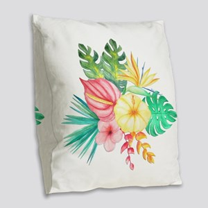 Watercolor Tropical Bouquet 6 Burlap Throw Pillow