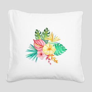 Watercolor Tropical Bouquet 6 Square Canvas Pillow