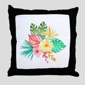 Watercolor Tropical Bouquet 6 Throw Pillow