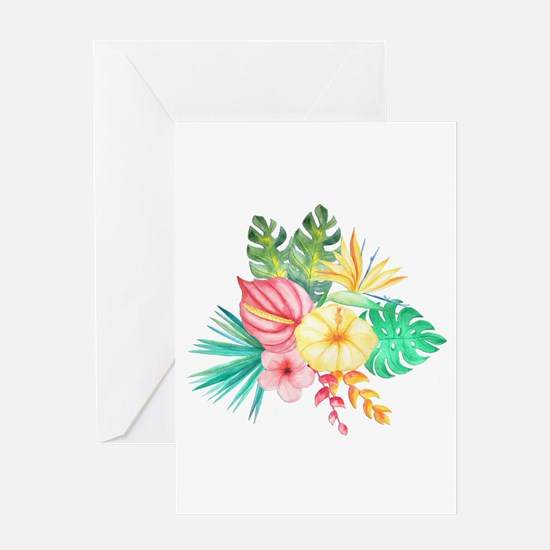 Watercolor Tropical Bouquet 6 Greeting Cards