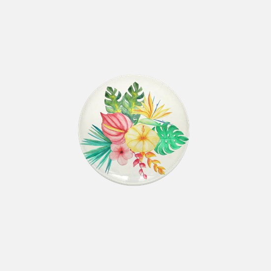 Watercolor Tropical Bouquet 6 Mini Button