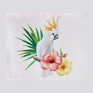 Tropical Cockatoo Throw Blanket