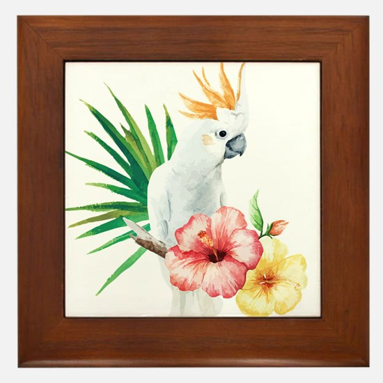 Tropical Cockatoo Framed Tile