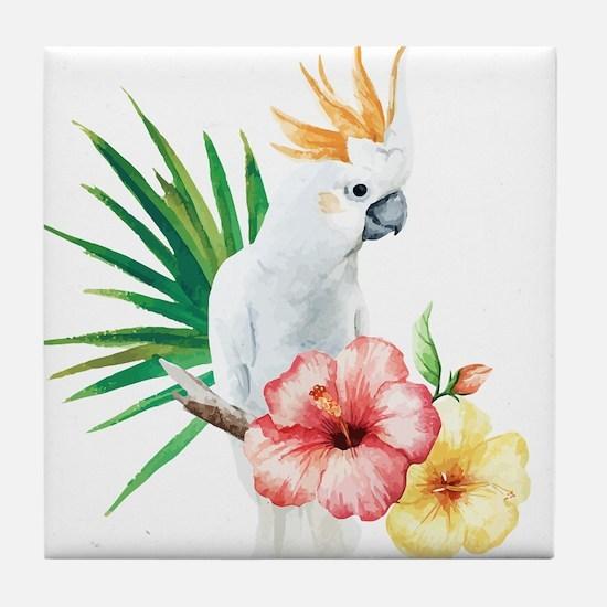 Tropical Cockatoo Tile Coaster