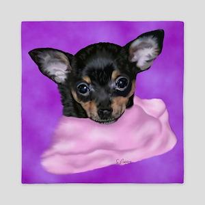 Chihuahua Puppy Portrait Print Queen Duvet
