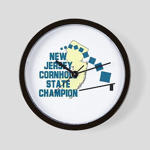 New Jersey Cornhole State Cha Wall Clock