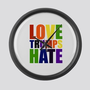Love Trumps Hate Large Wall Clock