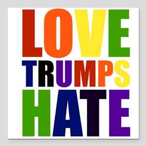 "Love Trumps Hate Square Car Magnet 3"" x 3"""