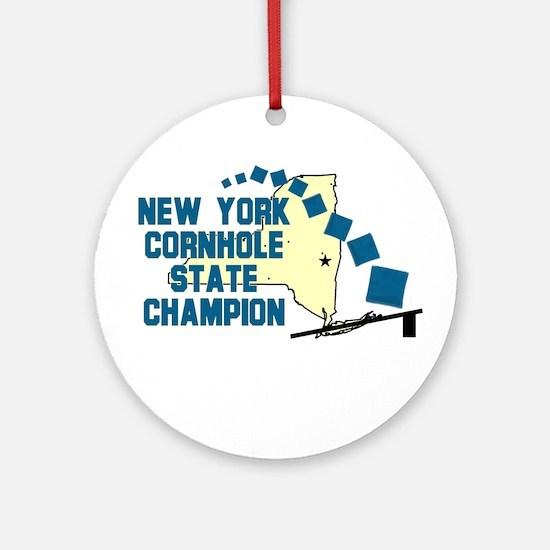 New York Cornhole State Champ Ornament (Round)