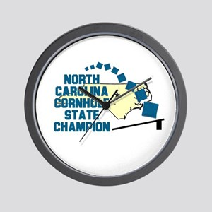 North Carolina Cornhole State Wall Clock