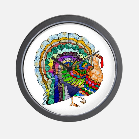 Patchwork Thanksgiving Turkey Wall Clock