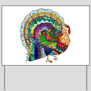 Patchwork Thanksgiving Turkey Yard Sign