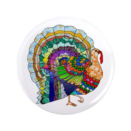 """Patchwork Thanksgiving Turkey 3.5"""" Button (100 pac"""