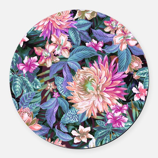 Exotic Floral Round Car Magnet