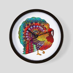 Thanksgiving Jeweled Turkey Wall Clock