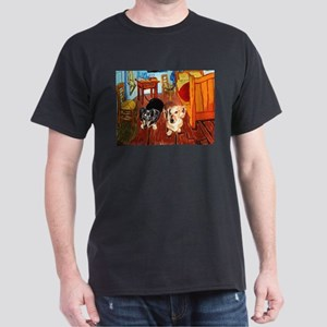 Double Dachshunds Van Gogh Dark T-Shirt