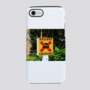 Railway crossing sign iPhone 8/7 Tough Case