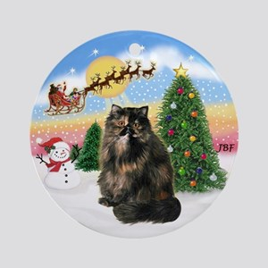Take OFf (A)Tortie Persian cat Ornament (Round)