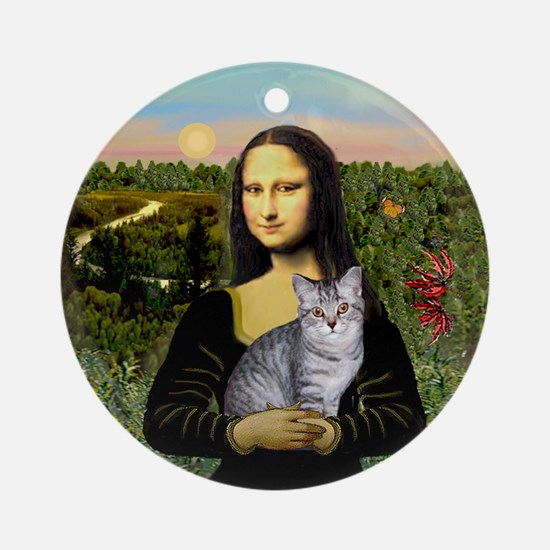 Mona's Silver Tabby Ornament (Round)