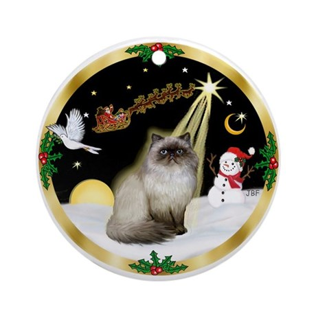 Wreath (G) & Himalayan cat Ornament (Round)
