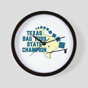 Texas Bag Toss State Champio Wall Clock