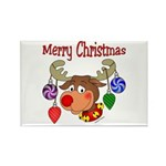 Merry Christmas Reindeer Rectangle Magnet (100 pa