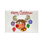 Merry Christmas Reindeer Rectangle Magnet