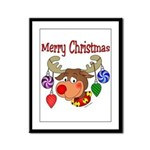 Merry Christmas Reindeer  Framed Panel Print