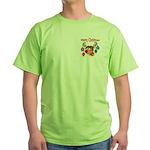 Merry Christmas Reindeer Green T-Shirt