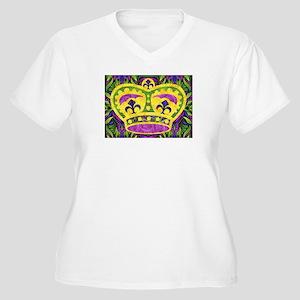 Mardi Gras Crown Women's Plus Size V-Neck T-Shirt