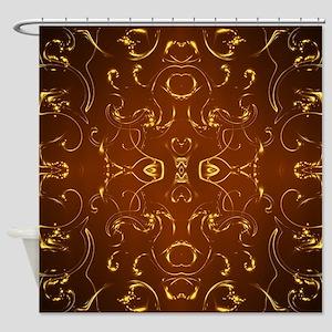goldene ornamente in braun Shower Curtain
