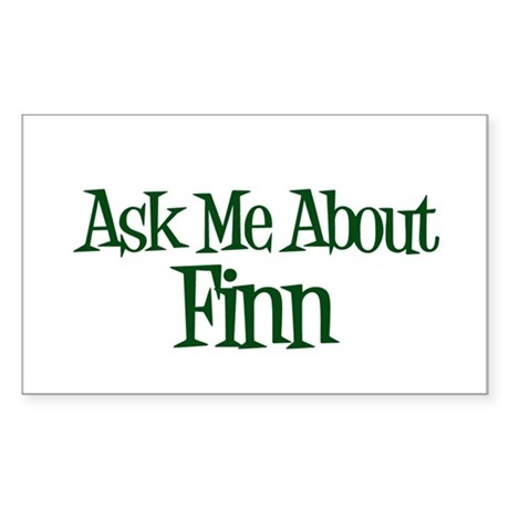 Ask Me About Finn Rectangle Sticker