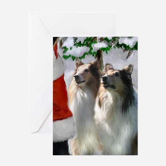 Rough Collie Christmas Greeting Card