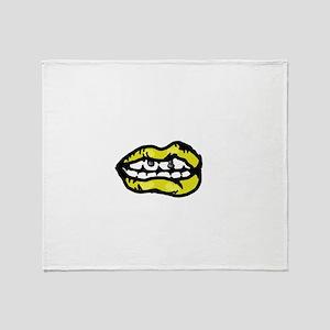 Yellow Lips Throw Blanket