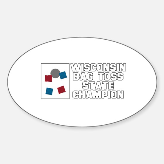 Wisconsin Bag Toss State Cham Oval Decal